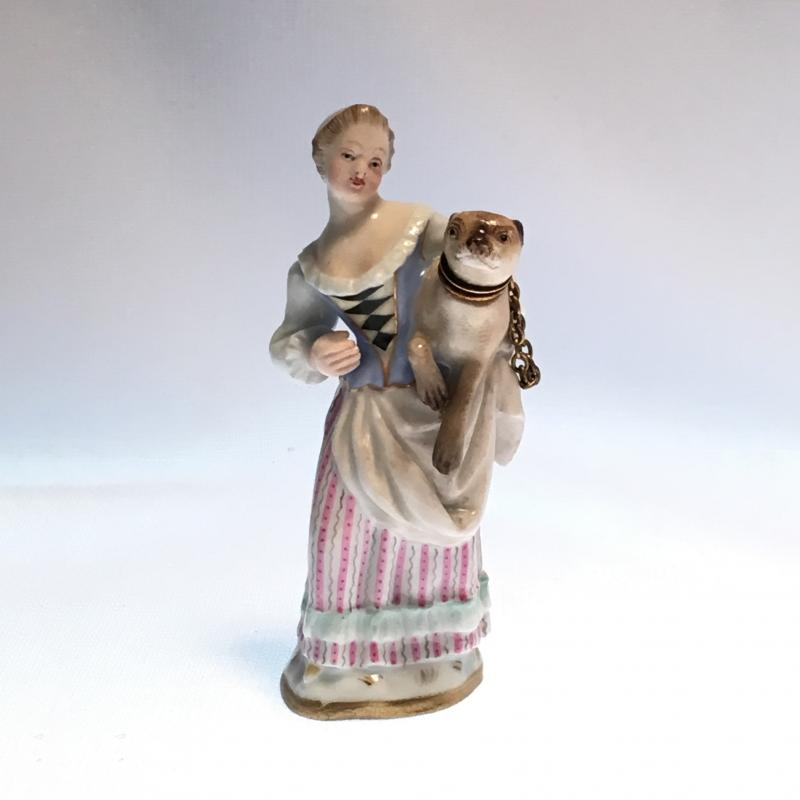 Meissen woman and pug